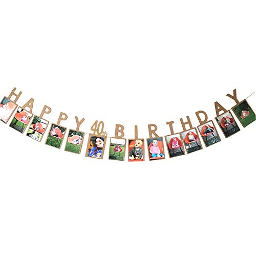Happy 40Th Birthday Fabulous Forty 40 Years Photo Banner For 40Th Birthday Decoration Bunting Kraft Paper
