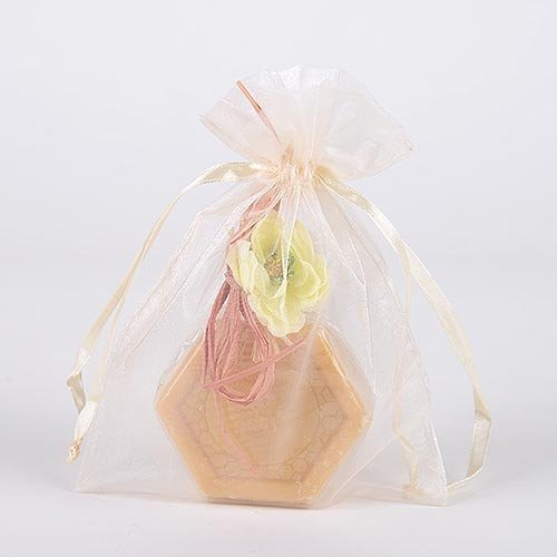 Organza Drawstring Gift Bag 8 X 14 Inches 8 X14  (Quantity Of 10, Ivory)