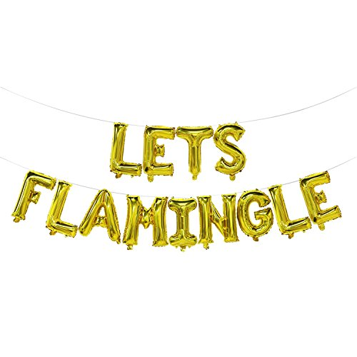 Lets Flamingle Balloons Banner | Lets Flamingle Party Supplies | Hawaii Party, Flamingo Theme Party, Pink Party, Summer Party Decorations (Gold)