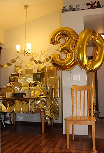 Langxun 40 Number 3 Air-Filled & Helium Gold Mylar Balloons For Birthday Party Supplies