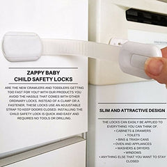 Zappy Baby - Adjustable Child Safety Locks Latches Straps To Baby Proof Cabinets, Drawers, Appliances, Toilet Seat, Fridge, Oven | 3M Adhesive  No Tools Or Drilling | White-Grey