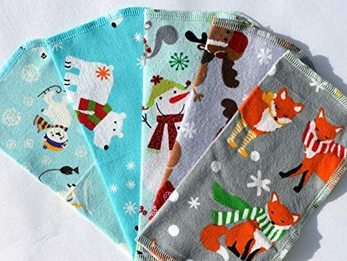 2 Ply Happy Winter Animals, Set Napkins 8X8 Inches - Little Wipes (R) Flannel