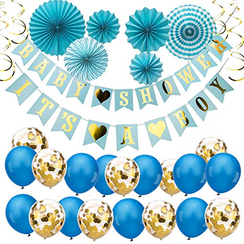 Savita Blue Baby Shower Decorations For Boys Kit - Its A Boy Baby Garland Bunting Banner Paper Fans Balloons Gold Spiral Ornaments Decor For Baby Shower Party Decoration Supplies