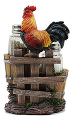 Ebros Sunflower Farm Crowing Rooster Standing On Fence By Old Fashioned Wooden Buckets Glass Salt And Pepper Shakers Holder Figurine 6.5 H Chicken Country Western Decorative Sculpture