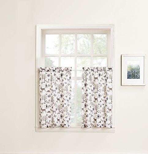 No. 918 Forest Friends Animal Kitchen Curtain Tier Pair, 56  X 24 , Ivory White