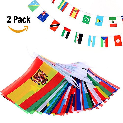 Ricov International String Flags Banners 32 Countries Flags 8.2'' X 5.5'' World Flags For 2018 Panini Russia Fifa World Cup Soccer, Restaurants, Sport Bars, Game Night, Party Decorations 36 Ft -