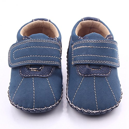 Lidiano Baby Boy Toddler Dull Polish Non Slip Rubber Sole Sneakers 0-18 Months (12-18 Months, Blue)