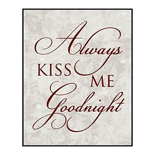 Always Kiss Me Goodnight 12 X 15 Overlay Wood Design Wall Art Sign Plaque