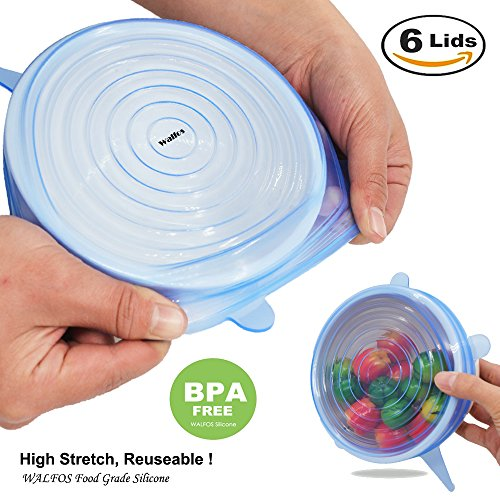 Silicone Stretch Lids Cover (Multi Size 6 Pack) - Reusable Food Seal Wrap For Various Sizes Shapes Of Bowls