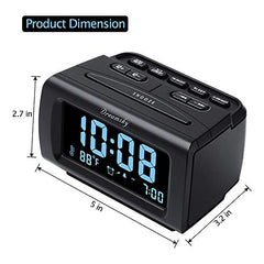 Dreamsky Decent Alarm Clock Radio With Fm Radio, Usb Port For Charging, 1.2  Blue Digit Display With Dimmer, Temperature Display, Snooze, Adjustable Alarm Volume, Sleep Timer.