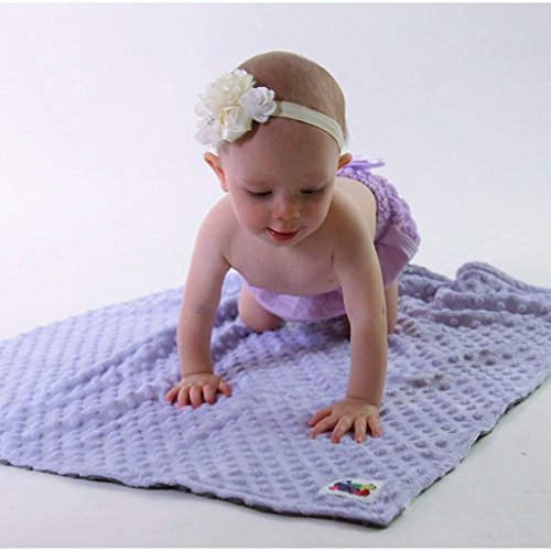 Reversible Unisex Children'S Soft Baby Blanket Minky Dot (Lavender/Grey)