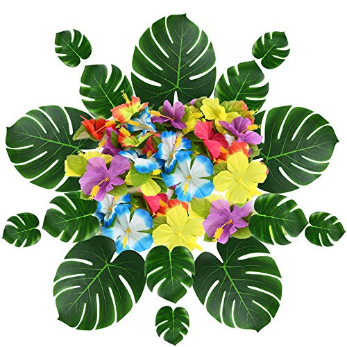 Eyrelife Tropical Palm Leaves Monstera Hibiscus Flowers - Set Of 54 - Artificial Silk Fabric Plant Simulation Leaf For Jungle Beach Theme, Hawaiian Luau, Safari Party Supplies &Amp; Table Decoration