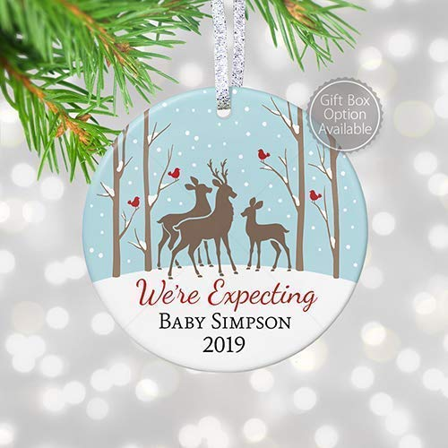 Personalized Expecting Parents Ornament 2018, Baby Reveal Deer Family, Pregnancy Announcement Baby Shower Gifts - 3  Flat Circle Ceramic Ornament - Gold &Amp; Silver Ribbon | Pgm-Or-37