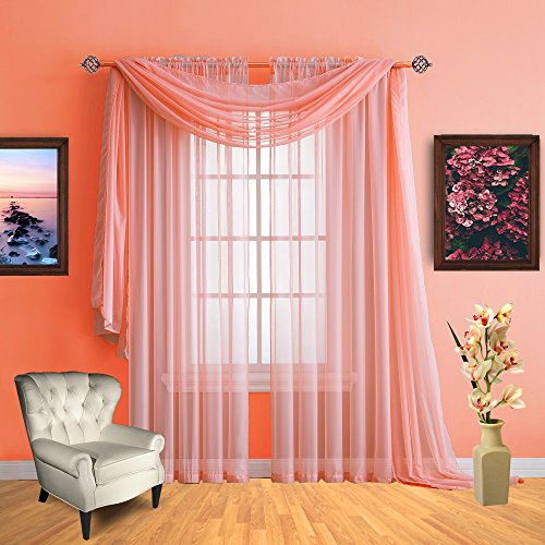Infinite Home Beauty Sheer Window Curtains. Two Panels Of Beautiful Drapes. Great For Any Room In The House. Kitchen, Living, Bedroom Or Office. (Coral, 1 Scarf: 56  X 144 )
