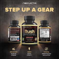 #1 Booster Supplement  Enhance Stamina, Strength, Energy &Amp; Muscle Mass - Rush By Neovicta - Powerful All Natural Support - 60 Count - Money Back Guarantee