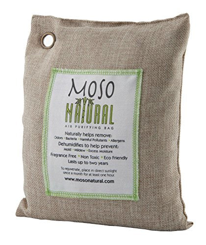 Moso Natural Air Purifying Bag 600G. Bamboo Charcoal Air Freshener, Deodorizer, Odor Eliminator, Odor Absorber For Home And Basement. Natural Color