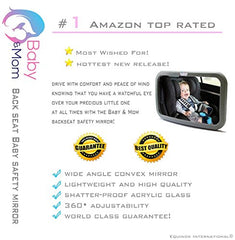 #1 Back Seat Mirror - Baby & Mom Rear View Baby Mirror - Easily Watch Your Precious Child In-Car - Adjustable, Convex And Shatterproof Glass