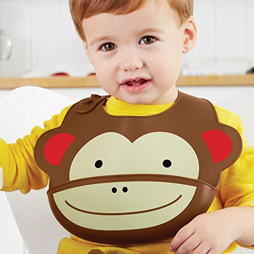 Skip Hop Zoo Fold & Go Silicone Bib, Brown Monkey