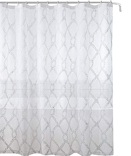 Decorative Sheer Fabric Shower Curtain: Embroidered Geometric Design Metallic Silver Lined (White/White)