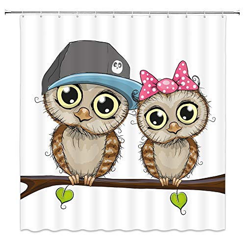 Amnysf Cute Owls Shower Curtain Cartoon Owl Couple Wildlife Tree Branch Romance Love Decor White Fabric Bathroom Curtains,70X70 Inch Waterproof Polyester With 12Pcs Hooks