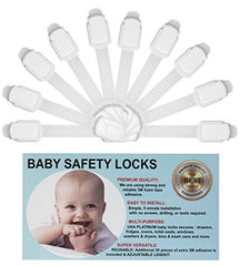 Baby Safety Adjustable Locks - Cabinet Locks - Door, Fridge, Oven, Toilet Seat And Drawer Latches, Free 20 Extra 3M Adhesive Pads, No Tools Or Drilling Required, By Usa Platinum (White)