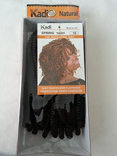 Kadi Natural Braiding Style, Hair Extension, Professional Grade Kanekalon (1B - Off Black, Spring Twist)