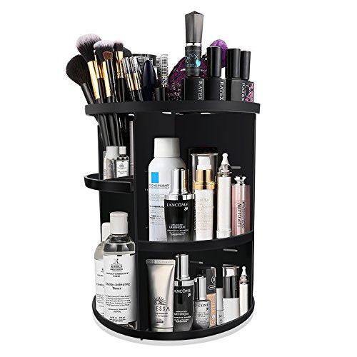 Kabb Makeup Organizer, 360-Degree Rotating Adjustable 7 Layers Multi-Function Cosmetic Storage Box With Top Tray, Compact Size With Large Capacity (Black 2019)