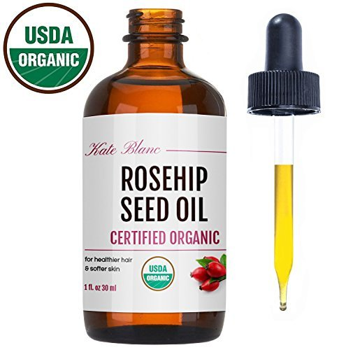Rosehip Seed Oil By Kate Blanc. Usda Certified Organic, 100% Pure, Cold Pressed, Unrefined. Reduce Acne Scars. Essential Oil For Face, Nails, Hair, Skin. Therapeutic Aaa+ Grade (1 Oz)