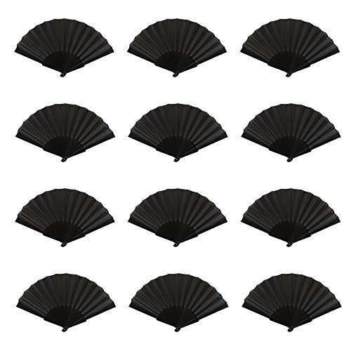 Mcuppe Hand Folding Chinese Fan For Women Nylon Cloth Fabric Fan 9 Inch For Performance,Dance,Fighting, Wedding, Church, Party, Gift (Black)