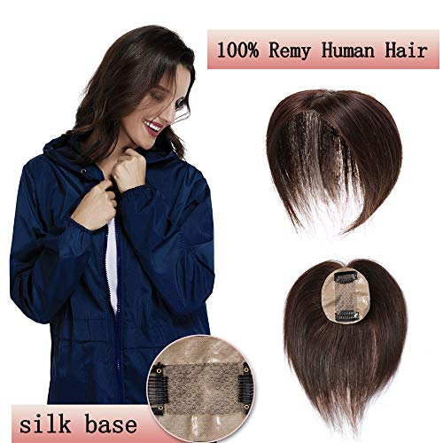 100% Real Human Hair Silk Base Top Hairpiece Clip In Topper Wig For Women Crown In Hand-Made Toppee Middle Part With Thinning Hair Loss Hair #4 Medium Brown 14''23G