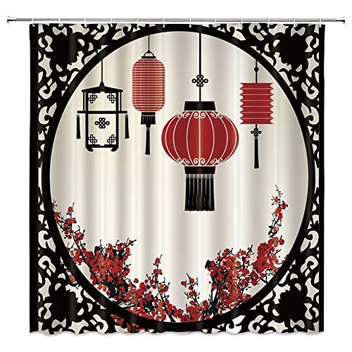 Bcnew China Window Shower Curtain Decor Red Oriental Lanterns Plum Blossoms Red Flowers 70 X 70 Inches Waterproof Mildew Resistant Polyester Fabric Machine Washable With 12Pcs Hooks