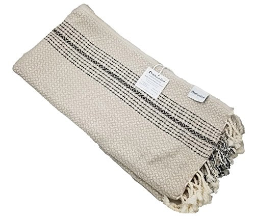 Infusezen Diamond And Zigzag Handwoven Turkish Towel In Beige, Oversized Peshtemal Bath Towel Or Beach Towel (Beige)