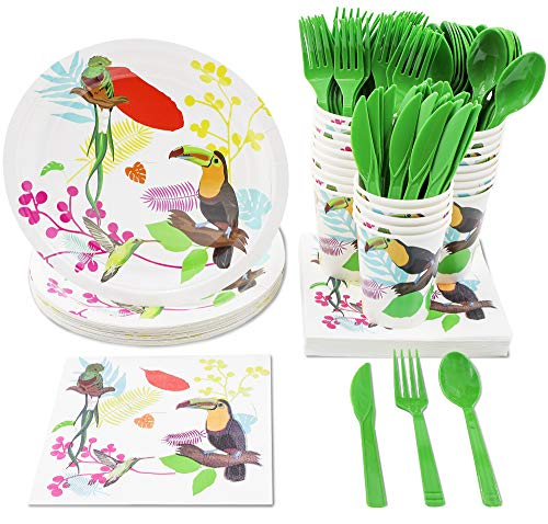 Tropical Party Supplies  Serves 24  Includes Plates, Knives, Spoons, Forks, Cups And Napkins. Perfect Party Pack For Birthday Parties And Bridal Showers, Bird Pattern