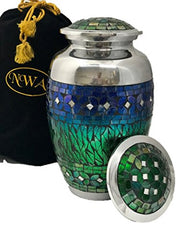 Nwa Beautiful Blue Mosaic Cremation Urn, Adult Human Funeral Urns With Bag