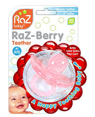 Razbaby Raz-Berry Silicone Teether / Multi-Texture Design / Hands Free Design / Pink