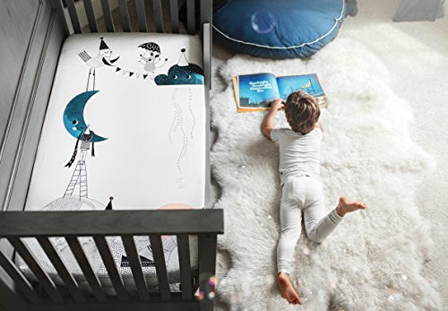 Rookie Humans 100% Cotton Sateen Fitted Crib Sheet: The Moons Birthday. Complements Modern Nursery, Use As A Photo Background For Your Baby