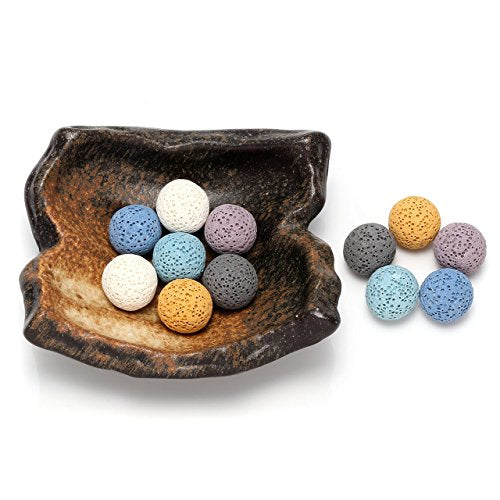 Crystaltears Lava Stone Diffuser For Essential Oil Set With Vintage Irregular Shape Ceramic Saucer Tray (12Pcs Lava Stone Balls)