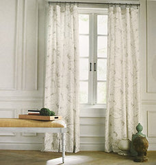 Tommy Hilfiger Mission Paisley Scrolls Boteh Pattern Window Panels 50 By 96-Inch Set Of 2 Floral Paisley Scrolls Print Window Curtains Hidden Tabs Gray Taupe Beige White