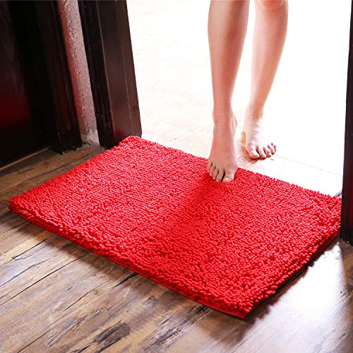 Upanfoo Extra Thick Shaggy Chenille Bath Mat Bathroom Rug Water Absorbent, Non-Slip Shower Mats Machine Washable, Soft Plush Microfiber Rugs, 20 X 32, Red