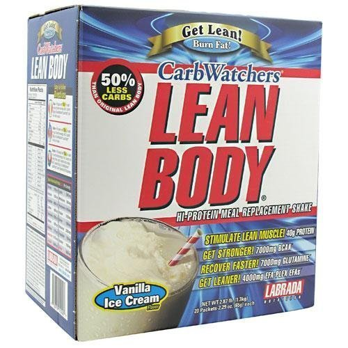 Labrada Nutrition Carb Watchers Lean Body Hi-Protein Meal Replacement Shake, Vanilla Ice Cream, 2.29-Ounce Packets