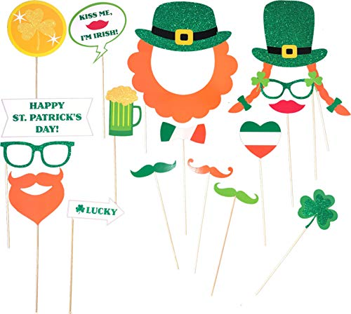 Photobooth Props - St Patrick'S Day Photo Booth Props With Glitter - Pre-Attached 18 Piece
