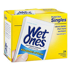 Wet Ones Singles Sensitive Wrapped Hand And Face Moist Wipes -24Ct, Citrus
