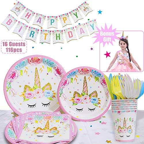 Unicorn Party Supplies Set With Unicorn Headband Birthday Sash- Serves 16, 116 Pieces | Plates Cups Napkins Tableware Bunting Banner- Perfect For Girls, Baby Showers Birthday Party Favors Decorations