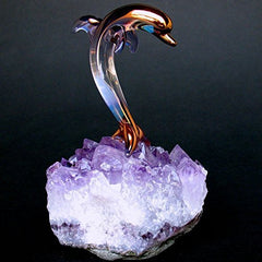 Dolphin Figurine Of Hand Blown Glass On Amethyst Crystals