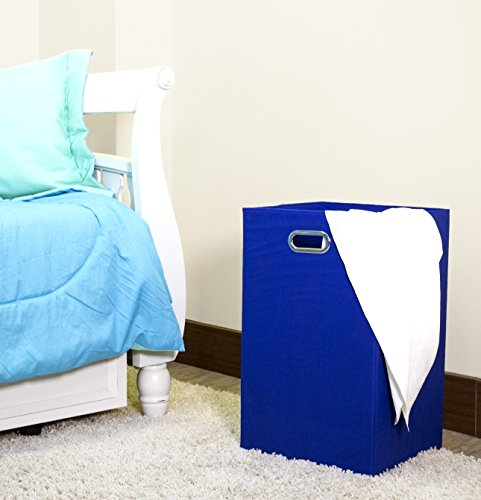 Modern Littles Folding Laundry Basket With Handles  High-Strength Polymer Construction  Folds For Easy Storage And Transportation  13.75 Inches X 13.75 Inches X 22.75 Inches  Blue