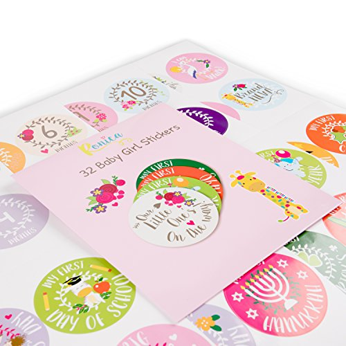 Baby Girl Gift Set With Baby Memory Book & Monthly Stickers: Modern Photo Journal & Keepsake Album For Girls - First 5 Years - Shower Gift Idea For Mom, Dad Or Grandparents