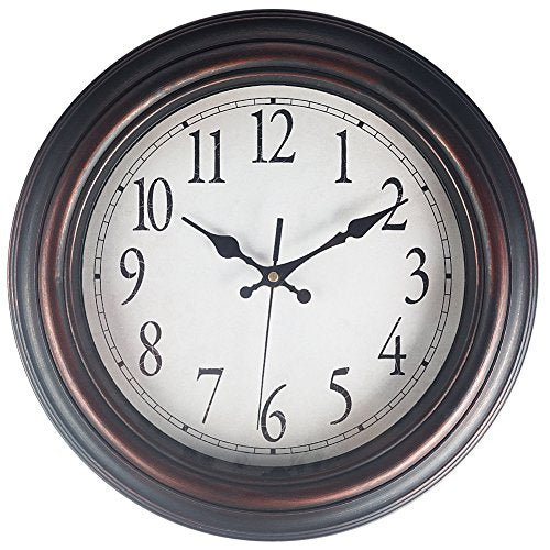 Benail 13 Round Retro Wall Clock Classic Silent Non-Ticking Quartz Decorative Wall Clock Good For Living Room &Amp; Home &Amp; Office Battery Operated (Bronze)