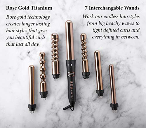 Foxybae 7-In-1 Curling Iron Set, Le'Se7En Professional Black And Rose Gold Hair Curling Wand - 7 Interchangeable Barrel Ceramic Hair Curler - Best Titanium Wands Lcd Display For Temp Control