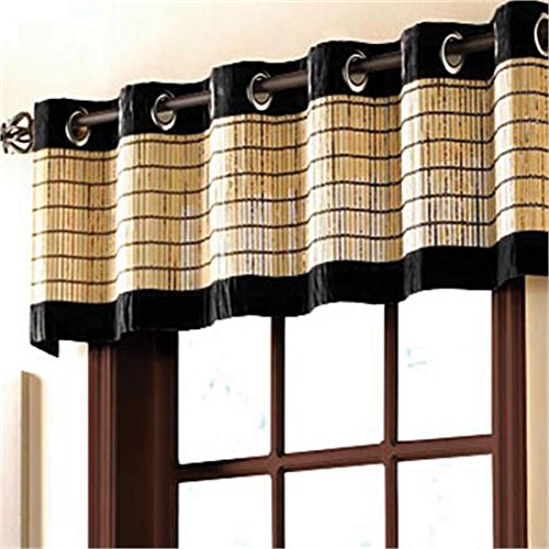 Brylanehome Bamboo Grommet Valance, 60 Wx12 L (Mahogany Brown)