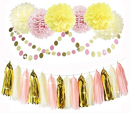 Ucity Girls Shower Pink And Gold Party Decorations Pink Cream Glitter Gold Paper Pom Poms Flowers Tissue Tassel Garland Polka Dot Paper Garlandkit For Bridal Baby Shower First Birthday Girl Decors